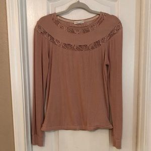 Blush Lace Ribbed Top